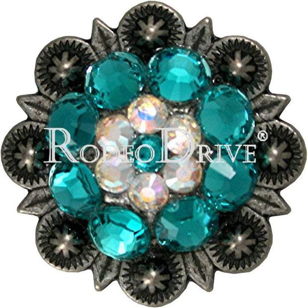 "Antique Silver Teal & AB Antique Silver 1.25"" European Crystal Concho ASMDTLAB"