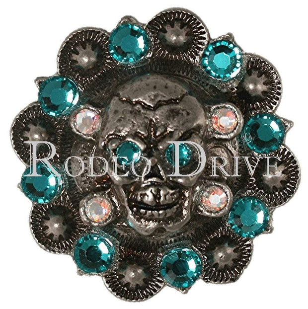 "Antique Silver Teal & AB Antique Silver 1.75"" Skull European Crystal Concho ASSKTLAB"