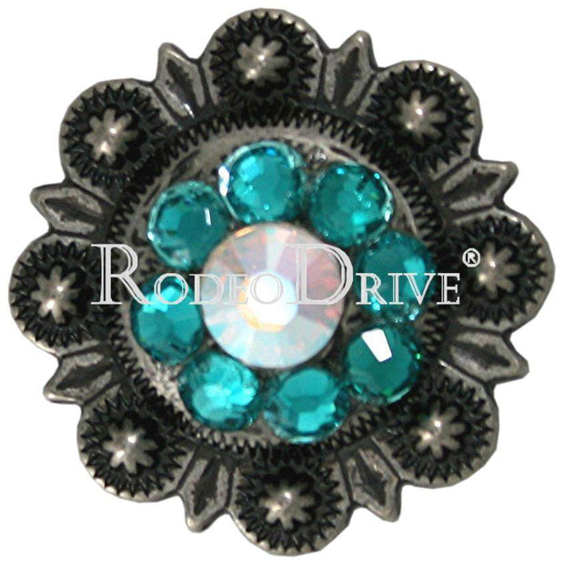 "Antique Silver Teal & AB Antique Silver 1"" European Crystal Concho ASSMTLAB"