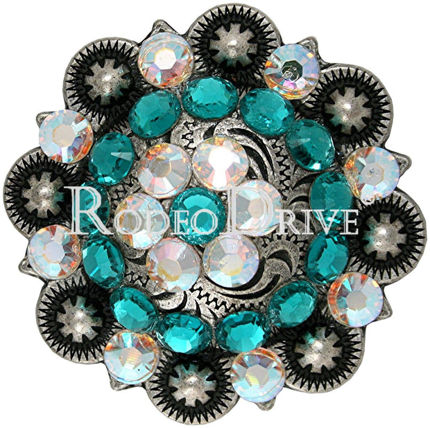"Antique Silver Teal &  AB Antique Silver 2"" European Crystal Concho ASXLTLAB"