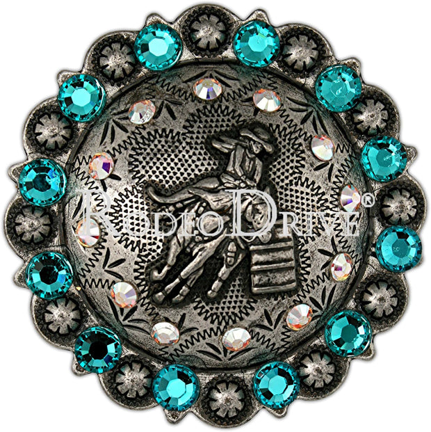 Antique Silver Teal & AB Antique Silver Barrel Racer European Crystal Concho ASBRTLAB