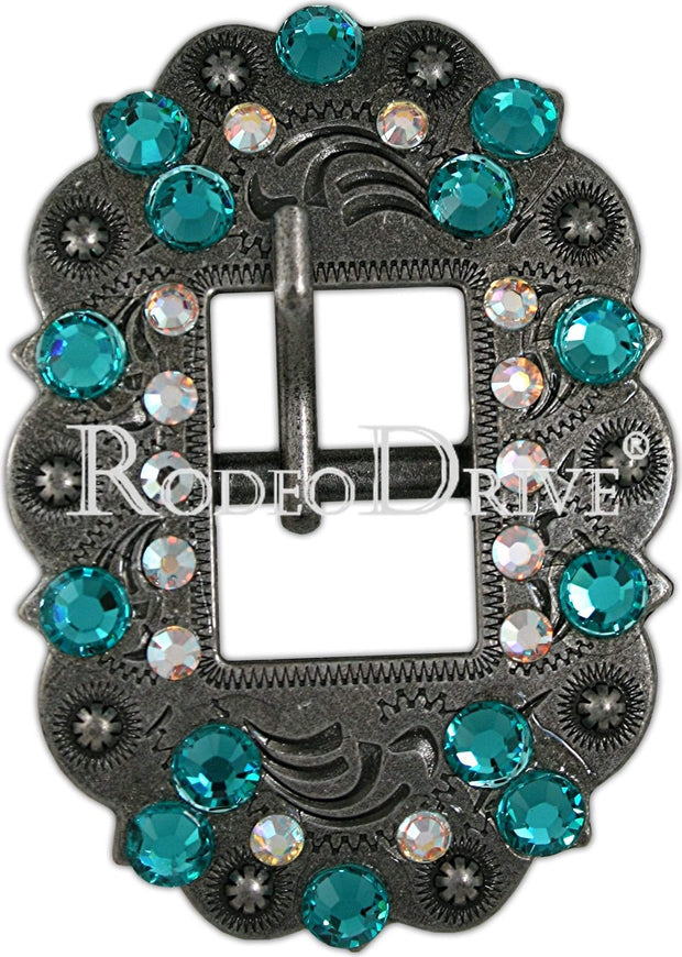 Antique Silver Teal & AB Antique Silver European Crystal Cart Buckle ASCTTLAB