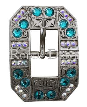 Antique Silver Teal & AB Antique Silver European Crystal Square Cart Buckle ASSQTLAB