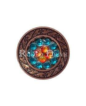 "Copper Fire Opal Teal & AB Copper 1.25"" Disc European Crystal Concho COSDFOTLAB"