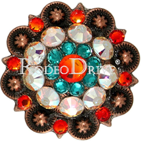 "Copper Fire Opal Teal & AB Copper 1.5"" European Crystal Concho COLGFOTLAB"