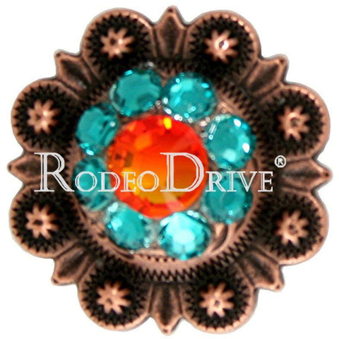 "Copper Fire Opal Teal & AB Copper 1"" European Crystal Concho COSMFOTLAB"