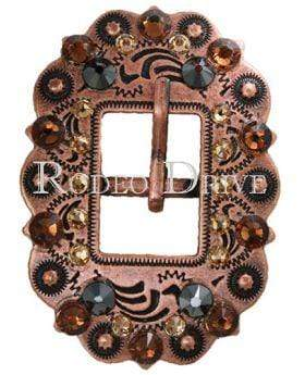 Copper Jet Champagne & Topaz Copper European Crystal Cart Buckle COCTJTCHTO