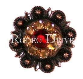 "Copper Ruby Black & Champagne Copper 1"" European Crystal Concho COSMRUJTCH"