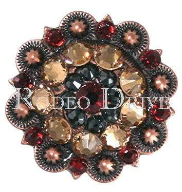 "Copper Ruby Jet & Champagne Copper 1.5"" European Crystal Concho COLGRUJTCH"