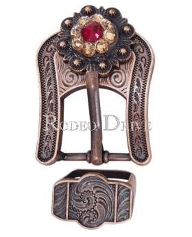 Copper Ruby Jet & Champagne Copper European Crystal Buckle Keeper Set COBARUJTCH