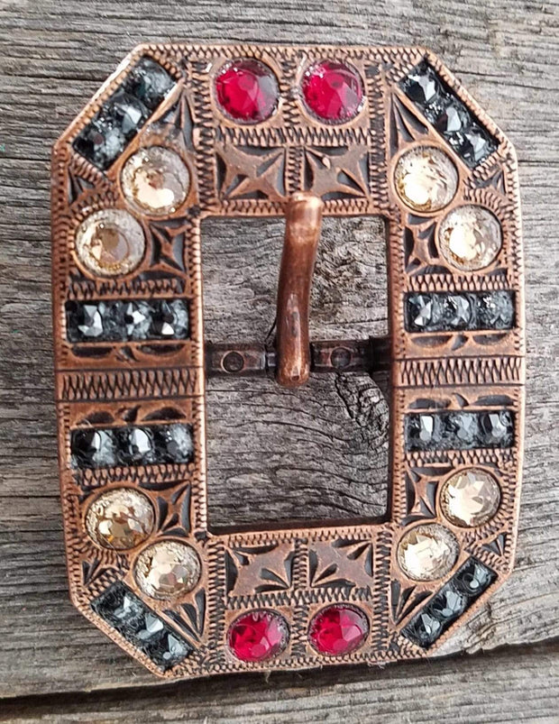 Copper Ruby Jet & Champagne Copper European Crystal Square Cart Buckle COSQCTRUJTCH
