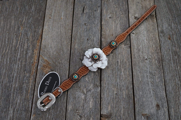"Dog Collars Light Oil Leather Dog Collar With a White Flower & Copper Conchos 10""-16"""