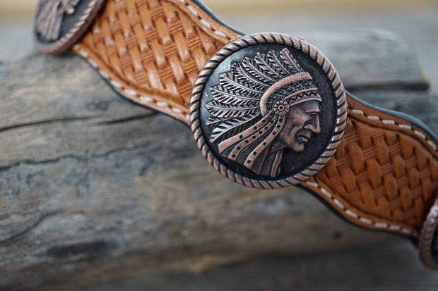 "Dog Collars Light Oil Leather Dog Collar With Copper Native American Conchos  18""-22"""