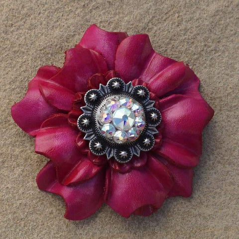 "Flowers Fringe & More Hot Pink Carnation Flower With Antique Silver AB 1"" Concho FL3FUASAB"