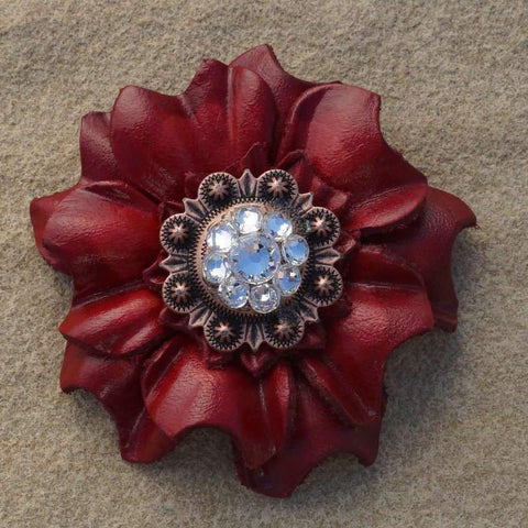 "Flowers Fringe & More Red Carnation Flower With Copper Clear 1"" Concho FL3RDCOCL"