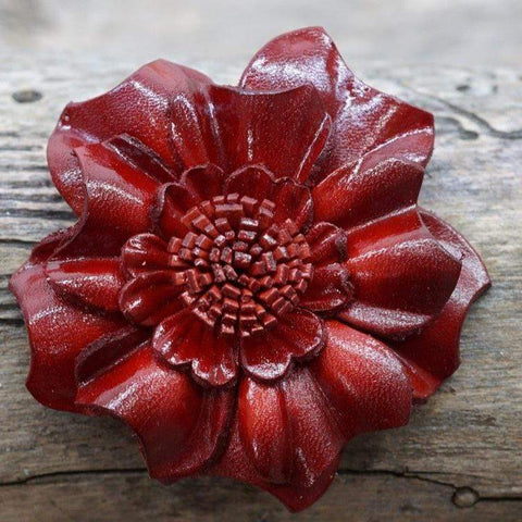 Flowers Fringe & More Red Carnation Leather Flower FL3RD