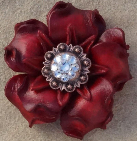 "Flowers Fringe & More Red Gardenia Flower With Copper Clear 1"" Concho FL2RDCOCL"