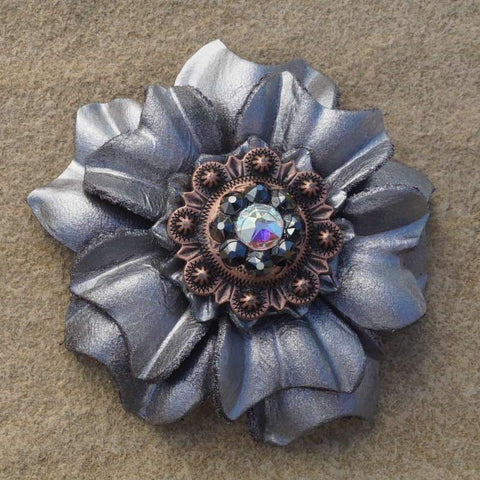 "Flowers Fringe & More Silver Carnation Flower With Copper Jet & AB 1"" Concho FL3SICOJTAB"
