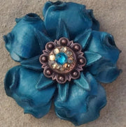 "Flowers Fringe & More Turquoise Gardenia Flower With Copper Teal & Champagne 1"" Concho FL2TQCOTLCH"