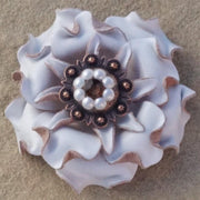 "Flowers Fringe & More White Gardenia Flower With Copper Topaz & Pearl 1"" Concho FL2WTCOTOPR"