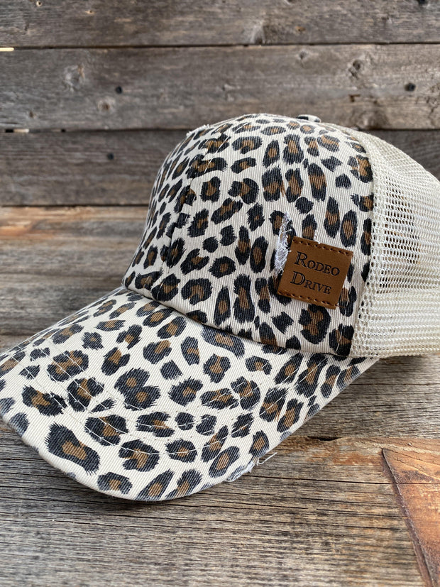 Cheetah Ponytail Trucker Hat HT112