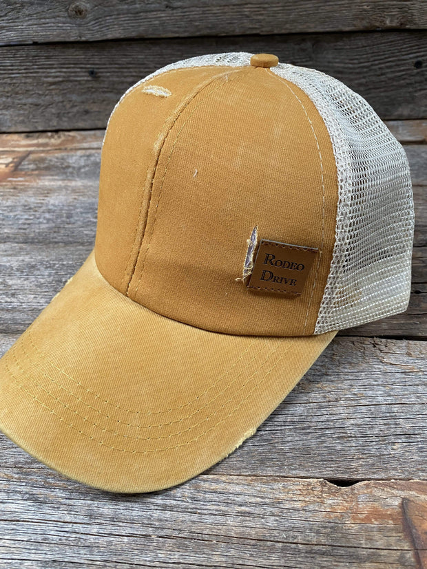 Hats Mustard Ponytail Trucker Hat HT107 MT107