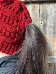 Hats Red Ponytail Beanie RBW188 RBW188