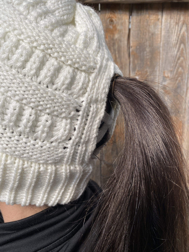 Hats White Ponytail Beanie WBW116 WBW116