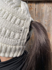 Hats White Ponytail Beanie WBW138 WBW138