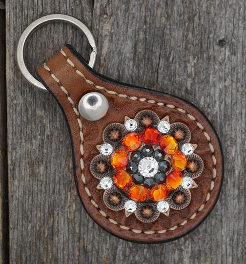 Key Chains Medium Oil Key Chain with Orange and Jet European Crystal Concho KMCL