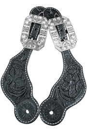 Tack Black Floral Tooled Spur Straps - European Clear Buckles #SS107 8048ASCL