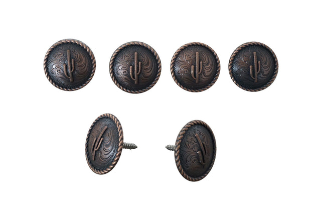 Western Conchos Copper Cactus Rope Edge Saddle Set W162SS W162SS
