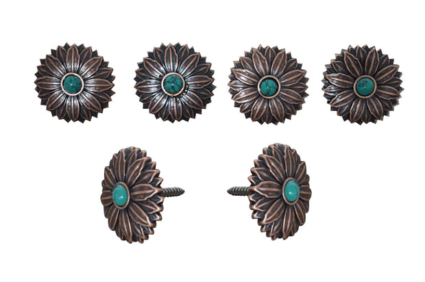Western Conchos Copper Daisy Turquoise Saddle Set W132SS W132SS