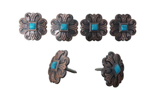 Western Conchos Copper Turquoise Concho Saddle Set W141SS W141SS