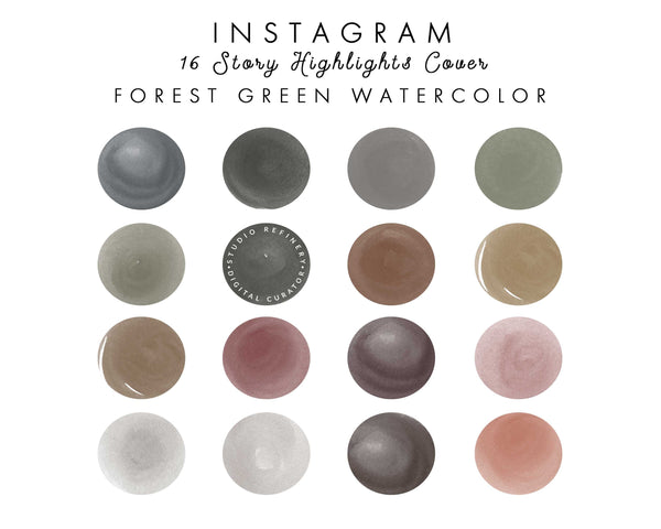 16 Forest Green Watercolor IG Highlights