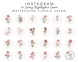 24 Cream Watercolor Instagram Highlights