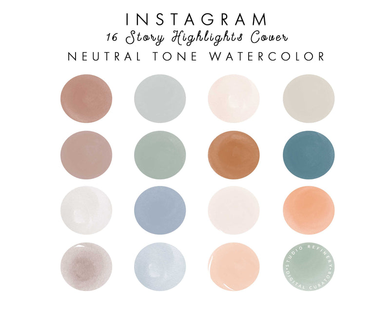16 Neutral Tone Watercolor IGHighlights