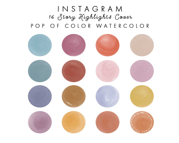 16 Pop of Color Watercolor IG Highlights
