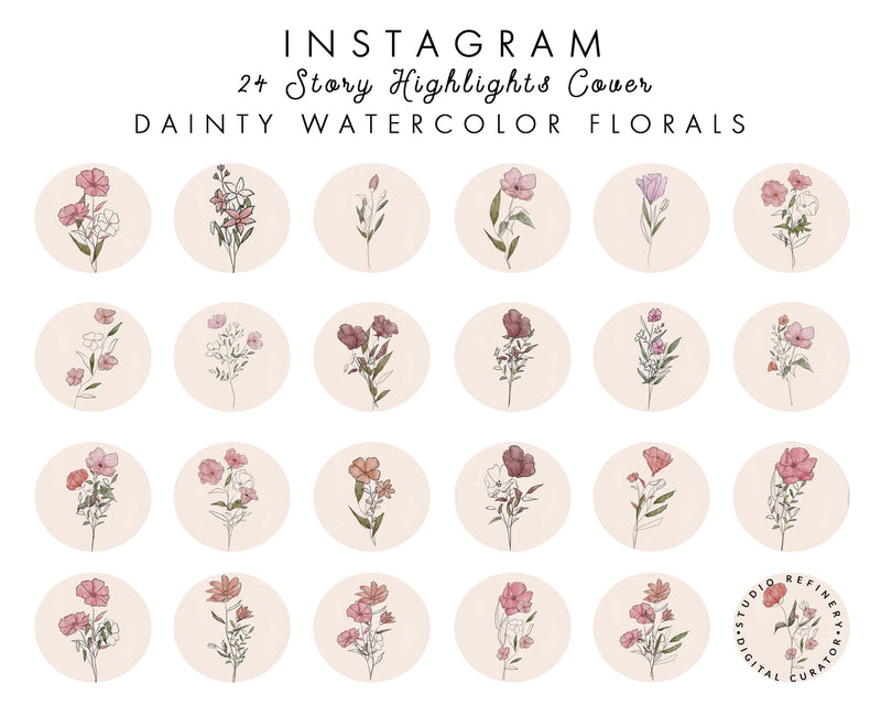 24 Watercolor Floral Instagram Highlights