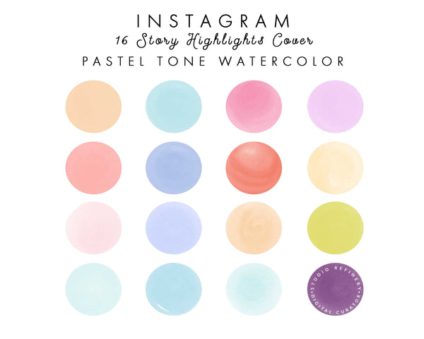 16 PASTEL Tone Watercolor IG Highlight