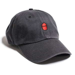 Bill cap made of charcoal gray washed twill with red Kamado Joe grill silhouette logo on front