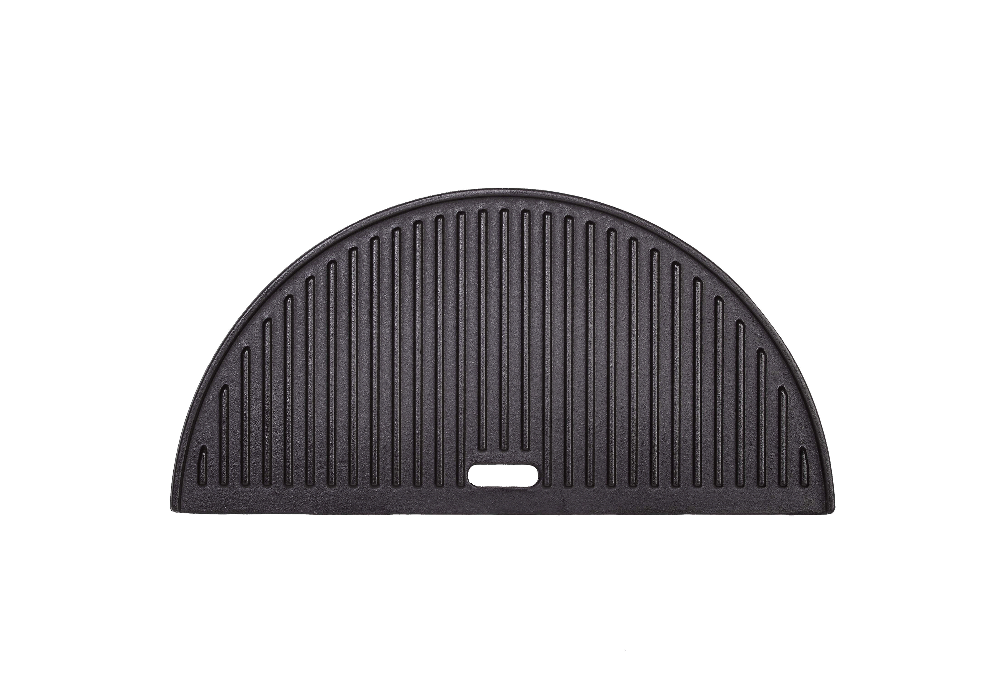 Use the ribbed side of the Kamado Joe® Half Moon Cast Iron Reversible Griddle for perfect sear marks