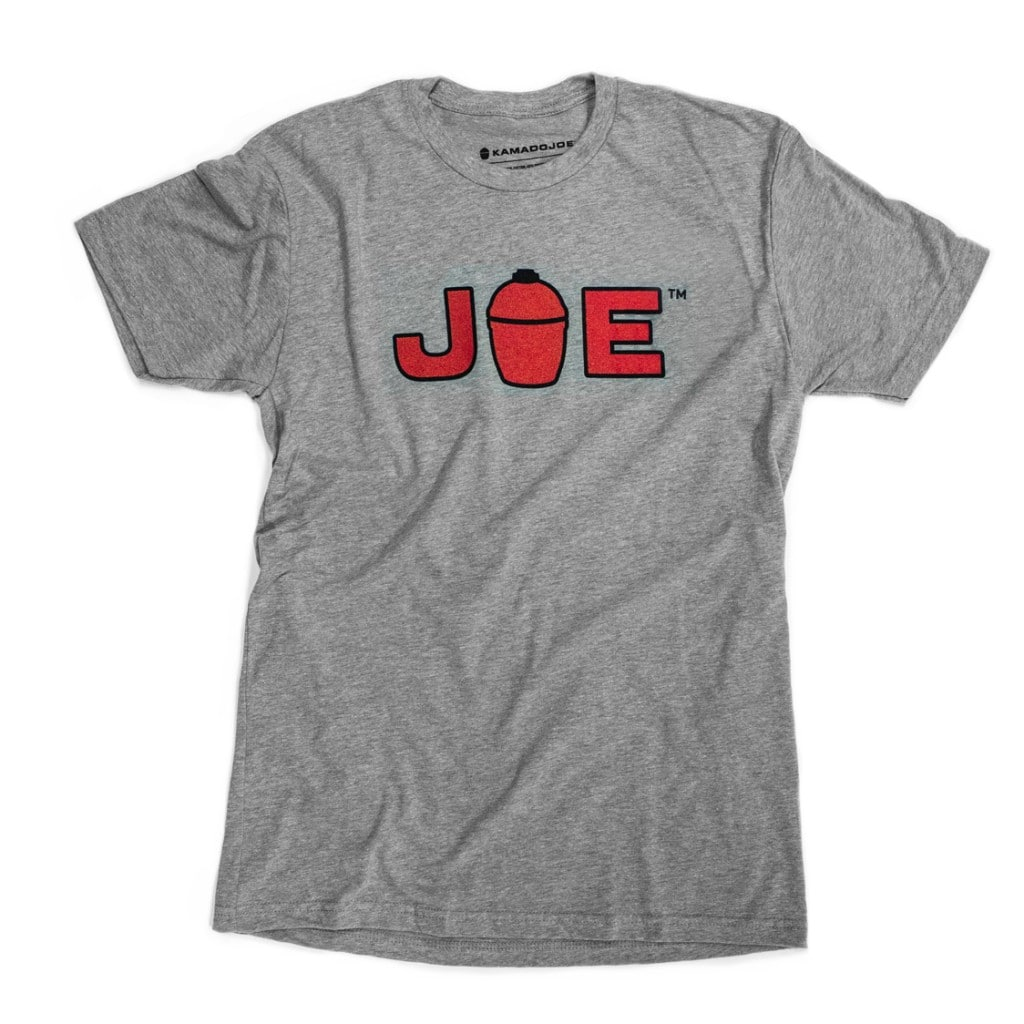 "Heather gray t-shirt with ""JOE"" in red outlined in black on the front. The ""O"" has been replaced with a Kamado Joe grill silhouette."