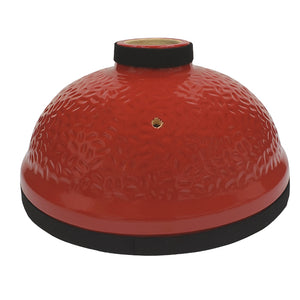 Red ceramic dome for Joe Jr., showing chimney for top vent and hole for thermometer probe