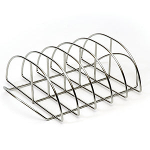 Stainless Steel Rib Rack with vertical slots to hold ribs