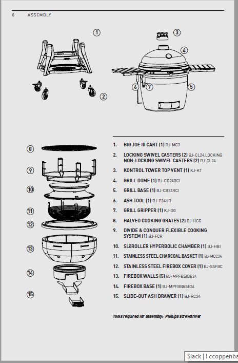 Big Joe Series III Grill Assembly guide