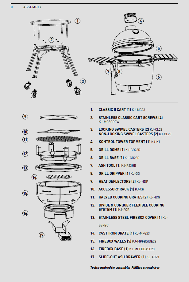 Kamado Joe Classic Series II Assembly guide