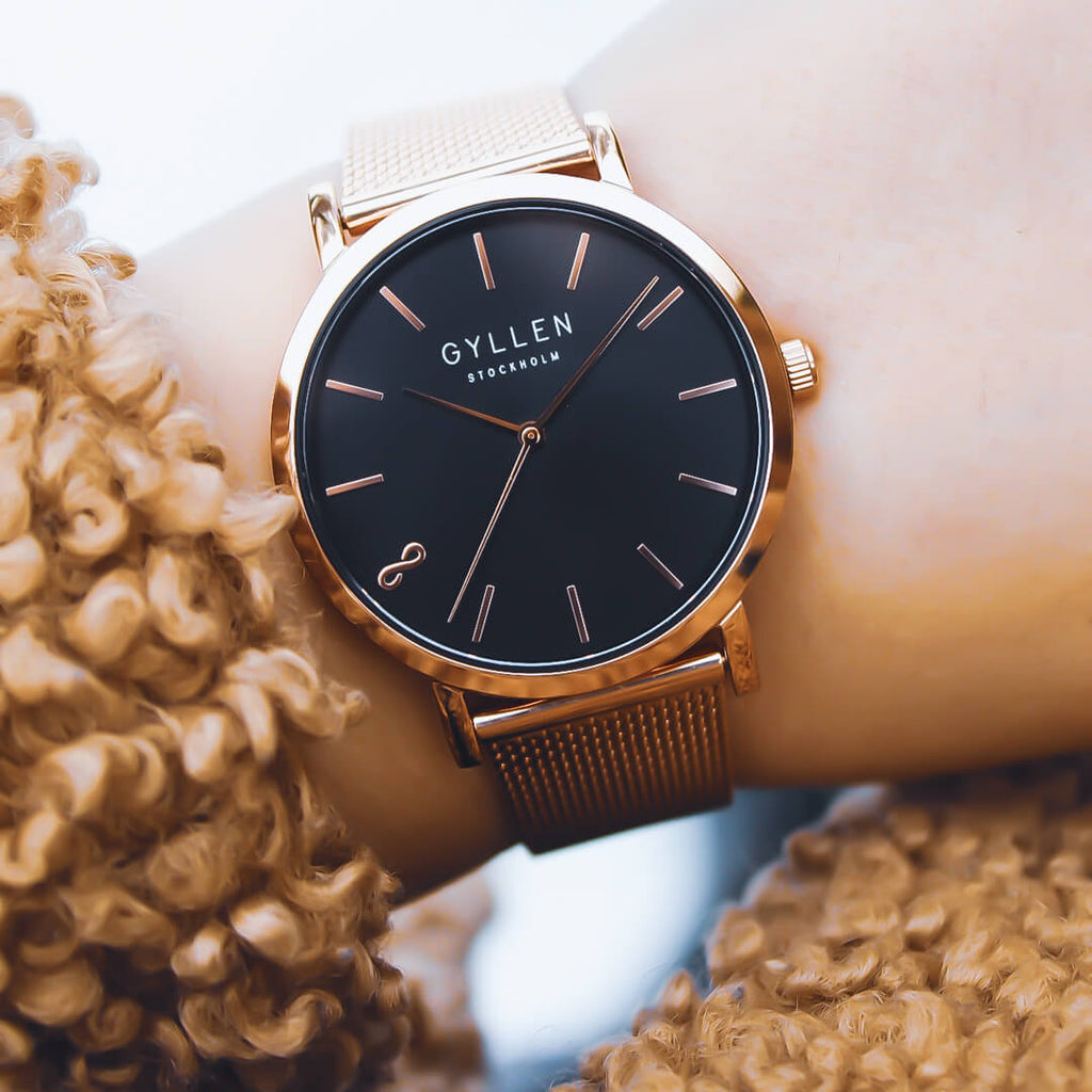 Gyllen-Rose-Gold-Watch-Vicky-With-Black-Dial