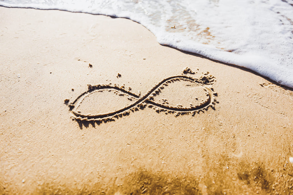 Infinity symbol in the beach sand