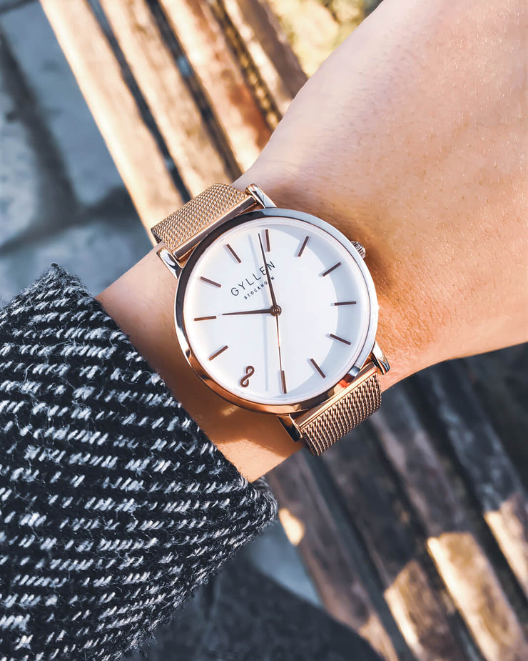 Rose Gold Watch White Large White Face Black White Pattern Coat